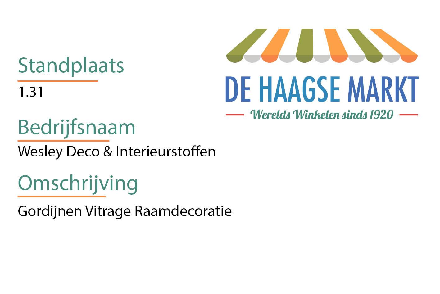 Wesley Deco & Interieurstoffen - De Haagsemarkt