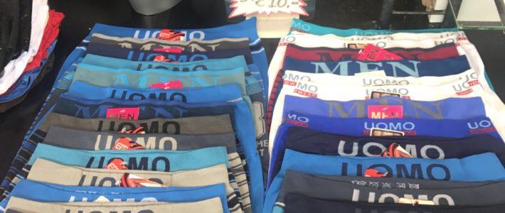 Microfiber heren boxershorts S/M of L/XL, 5 stuks voor €10,-.  PePa Ondermode kraam 2.21/2.22 en kraam 4.30/4.31